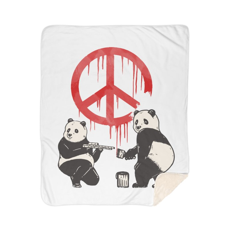 Pandalism Peace Sign Home Sherpa Blanket Blanket by Fathi