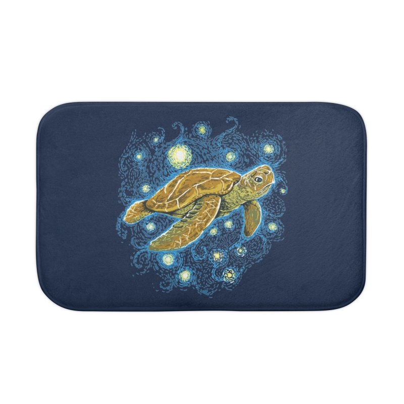 Starry Night Turtle Home Bath Mat by Fathi