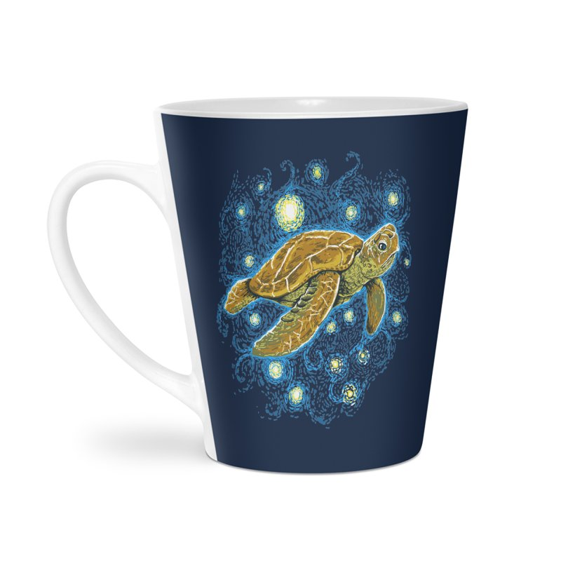Starry Night Turtle Accessories Latte Mug by Fathi