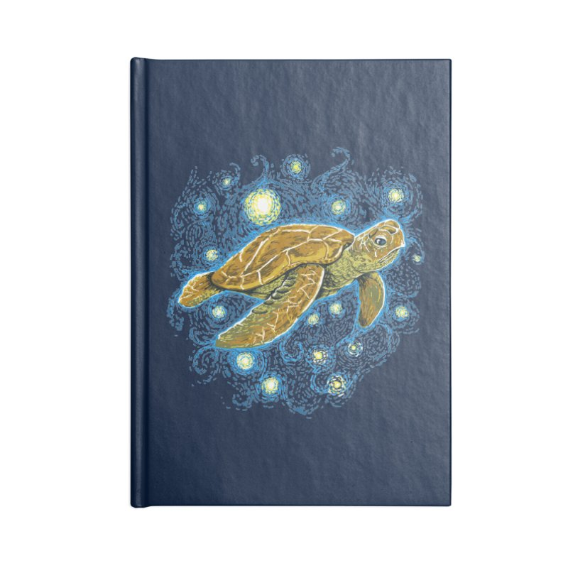 Starry Night Turtle Accessories Lined Journal Notebook by Fathi