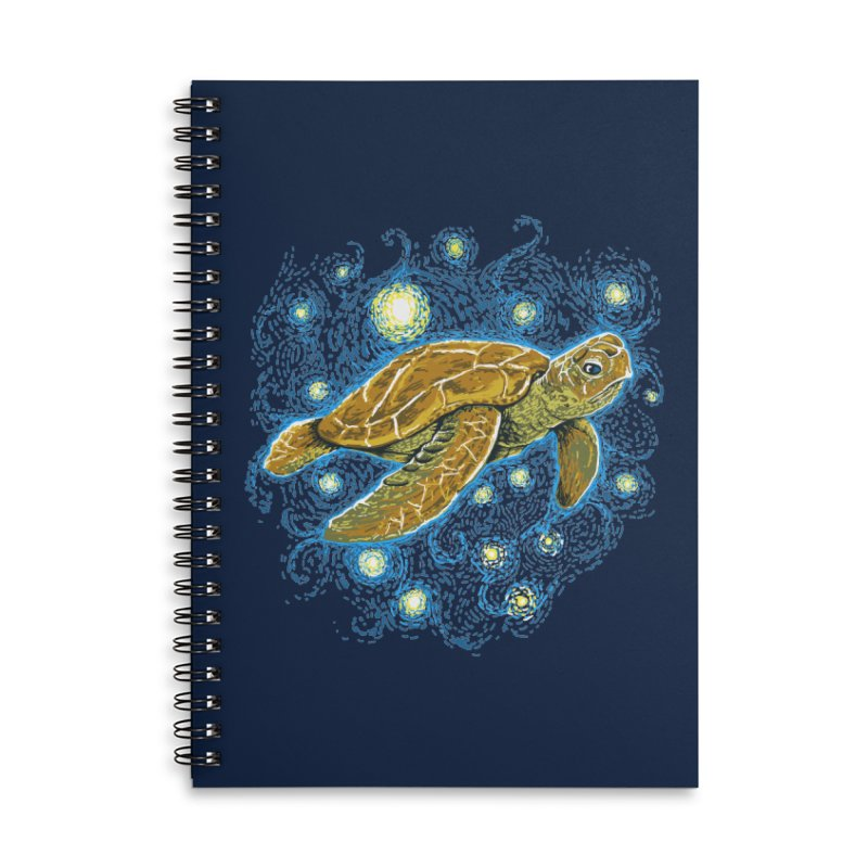 Starry Night Turtle Accessories Lined Spiral Notebook by Fathi