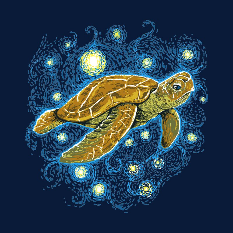 Starry Night Turtle Home Mounted Aluminum Print by Fathi