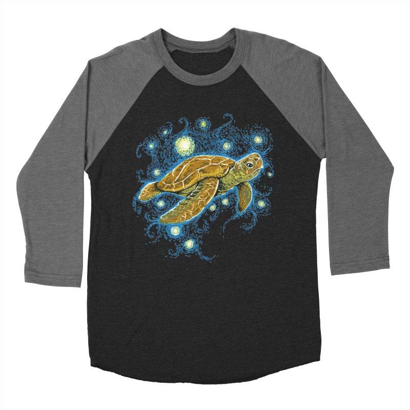 Starry Night Turtle Men's Baseball Triblend T-Shirt by Fathi