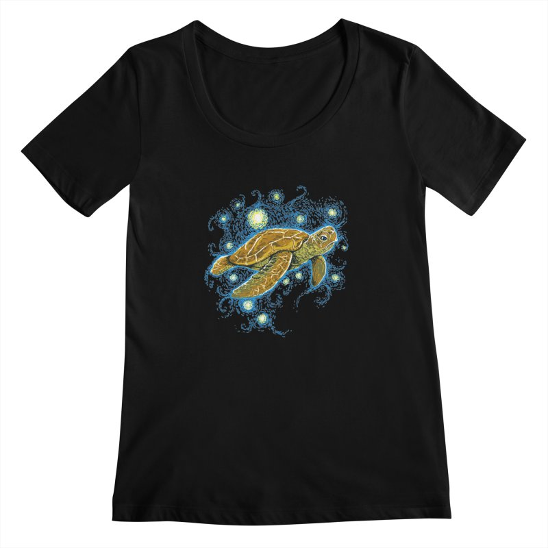 Starry Night Turtle Women's Scoopneck by Fathi