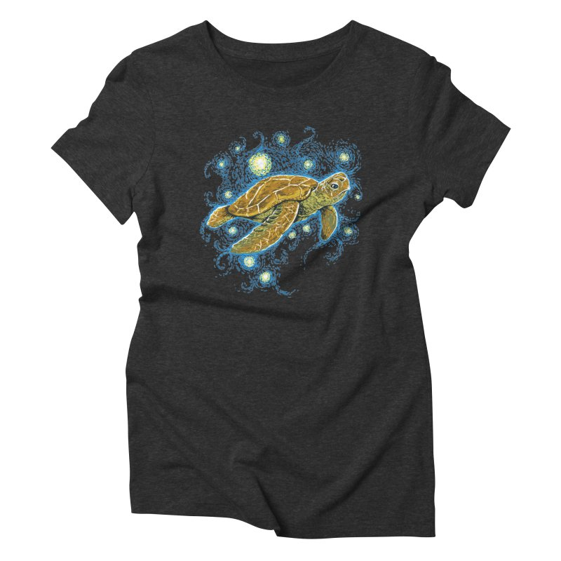 Starry Night Turtle Women's Triblend T-shirt by Fathi