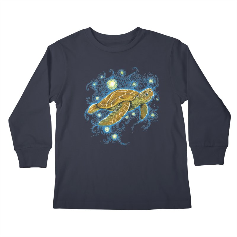 Starry Night Turtle Kids Longsleeve T-Shirt by Fathi