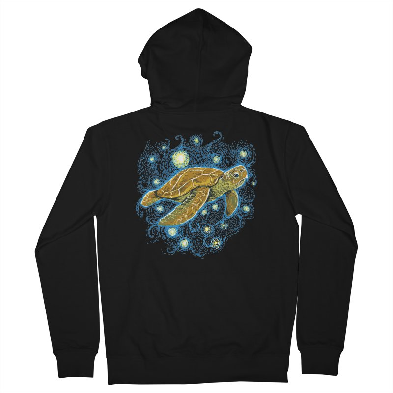 Starry Night Turtle Women's French Terry Zip-Up Hoody by Fathi