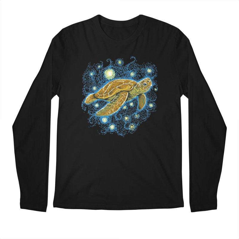 Starry Night Turtle Men's Regular Longsleeve T-Shirt by Fathi