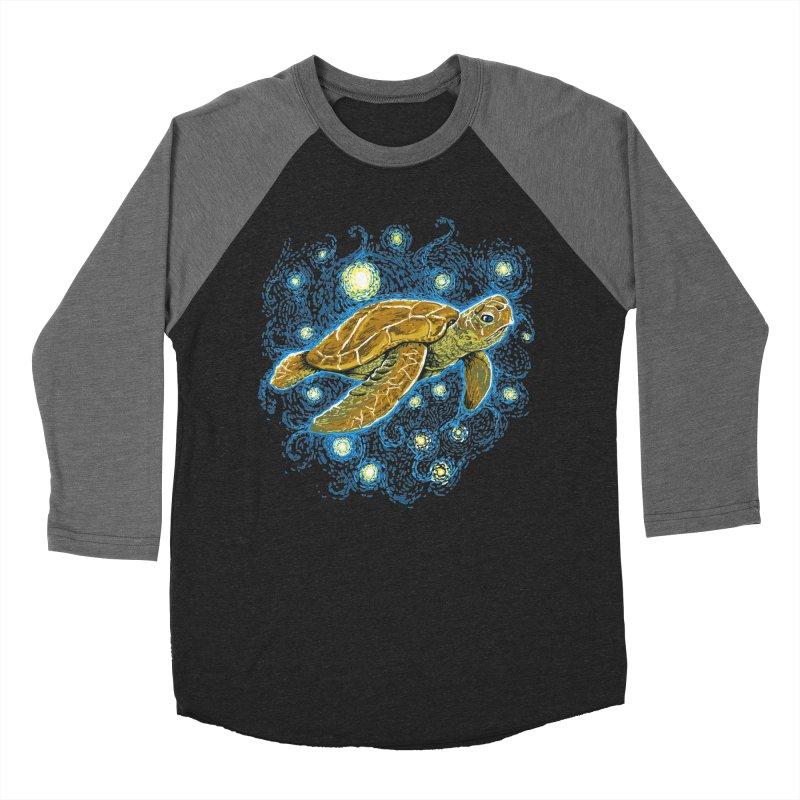 Starry Night Turtle Men's Baseball Triblend Longsleeve T-Shirt by Fathi