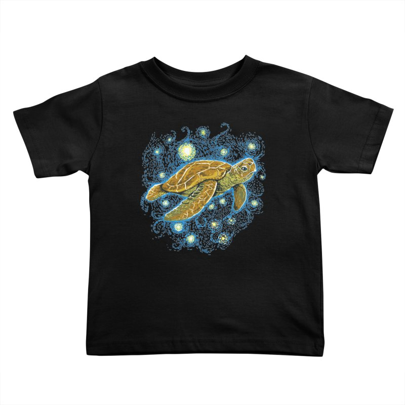 Starry Night Turtle Kids Toddler T-Shirt by Fathi