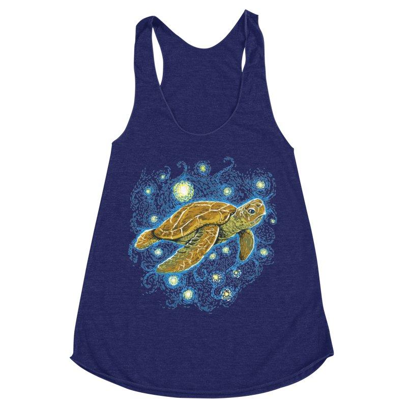 Starry Night Turtle Women's Racerback Triblend Tank by Fathi