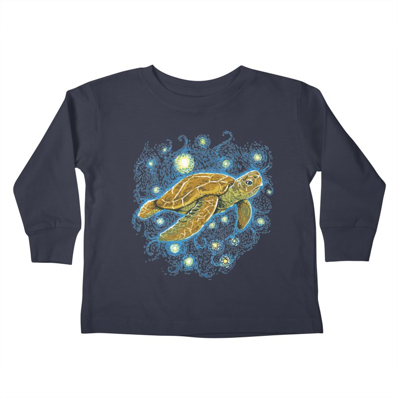 Starry Night Turtle Kids Toddler Longsleeve T-Shirt by Fathi