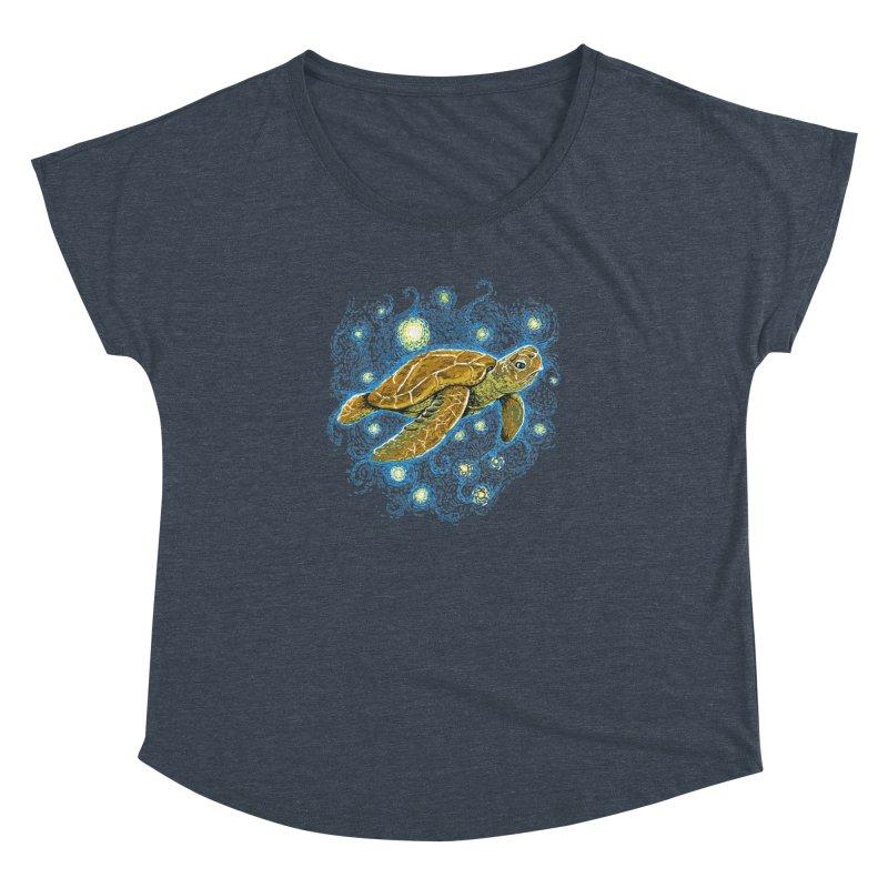 Starry Night Turtle Women's Dolman Scoop Neck by Fathi