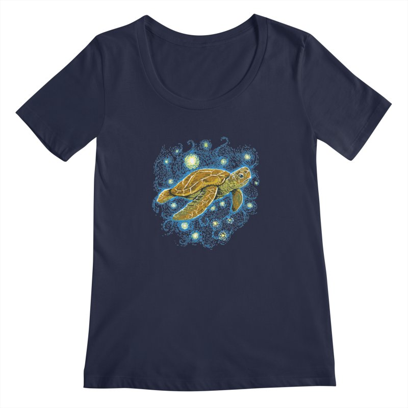 Starry Night Turtle Women's Regular Scoop Neck by Fathi
