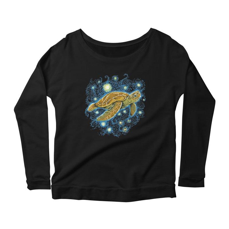 Starry Night Turtle Women's Scoop Neck Longsleeve T-Shirt by Fathi