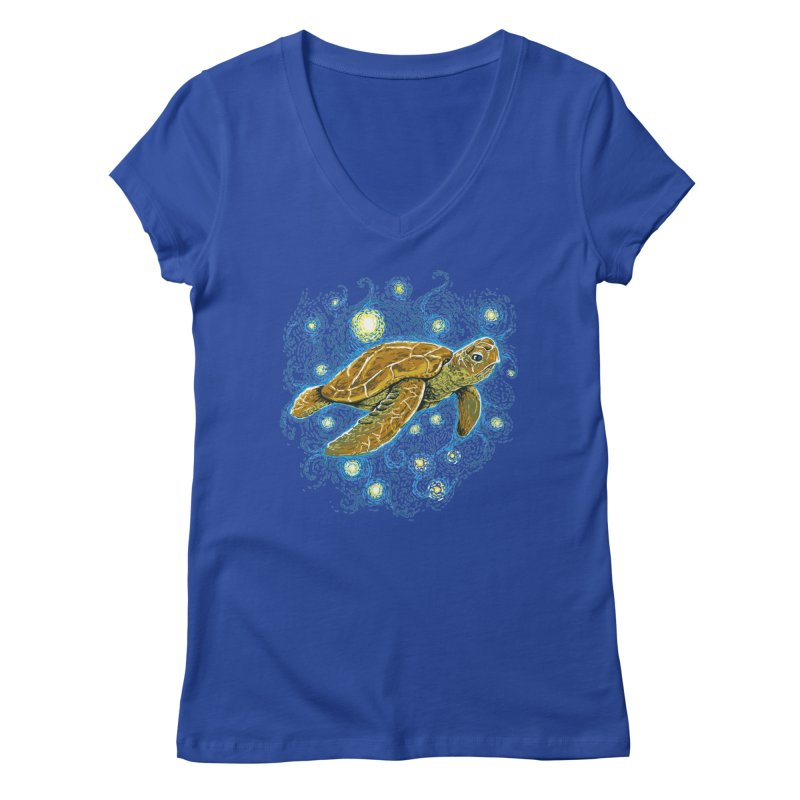 Starry Night Turtle Women's Regular V-Neck by Fathi