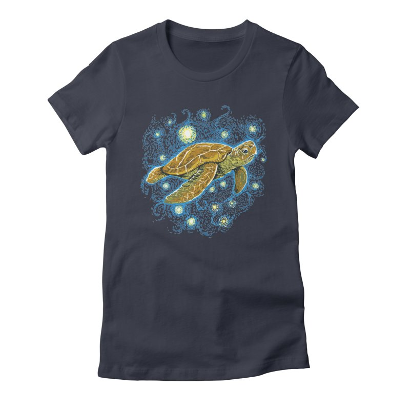 Starry Night Turtle Women's Fitted T-Shirt by Fathi