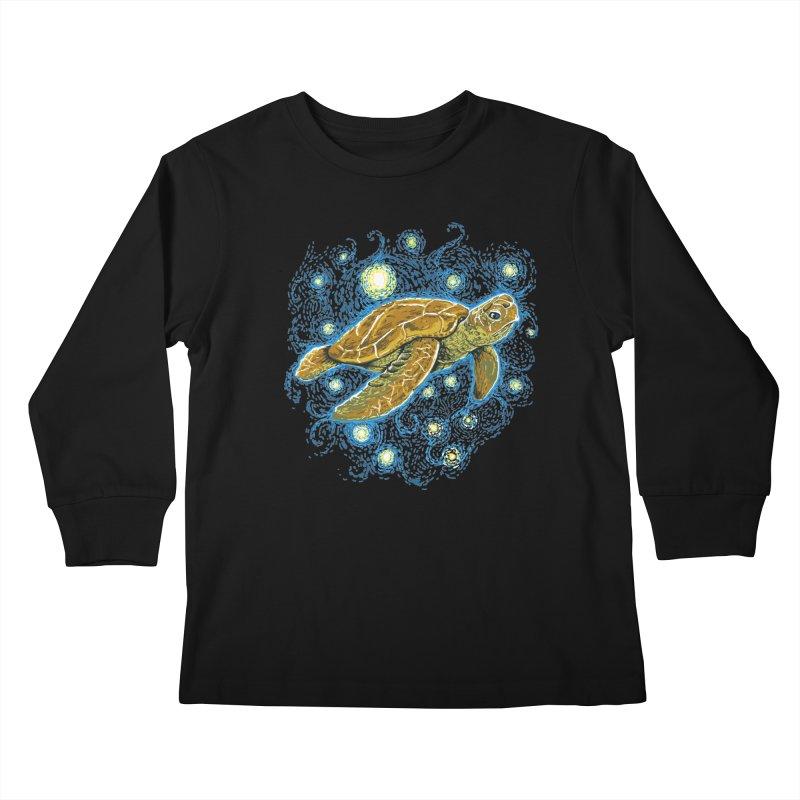 Starry Night Turtle Kids Longsleeve T-Shirt by Fathi