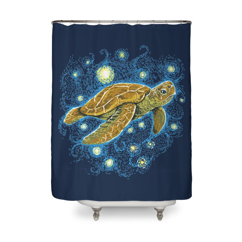 Starry Night Turtle Home Shower Curtain by Fathi
