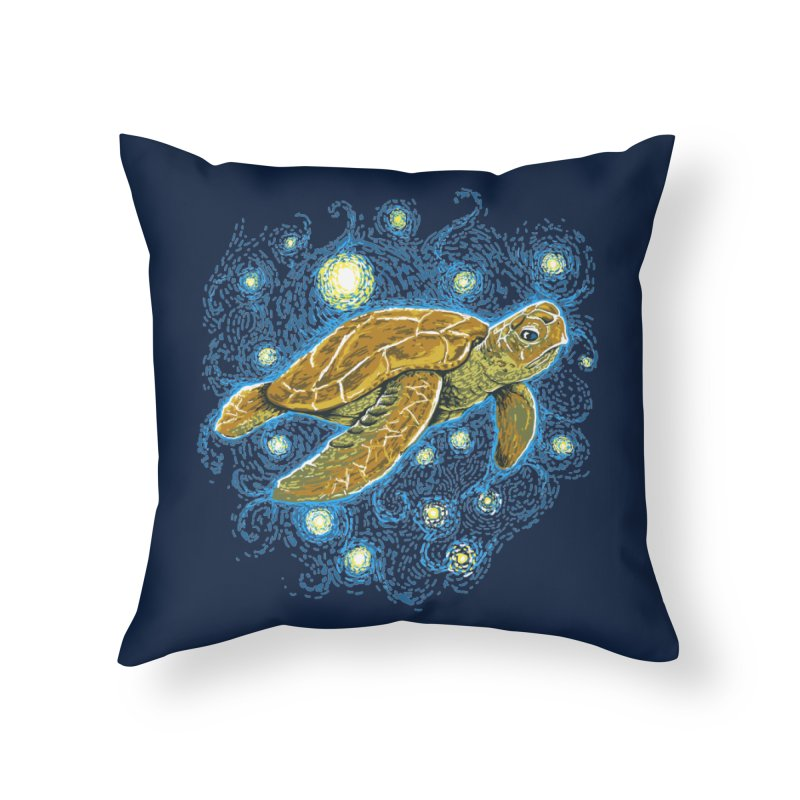 Starry Night Turtle Home Throw Pillow by Fathi
