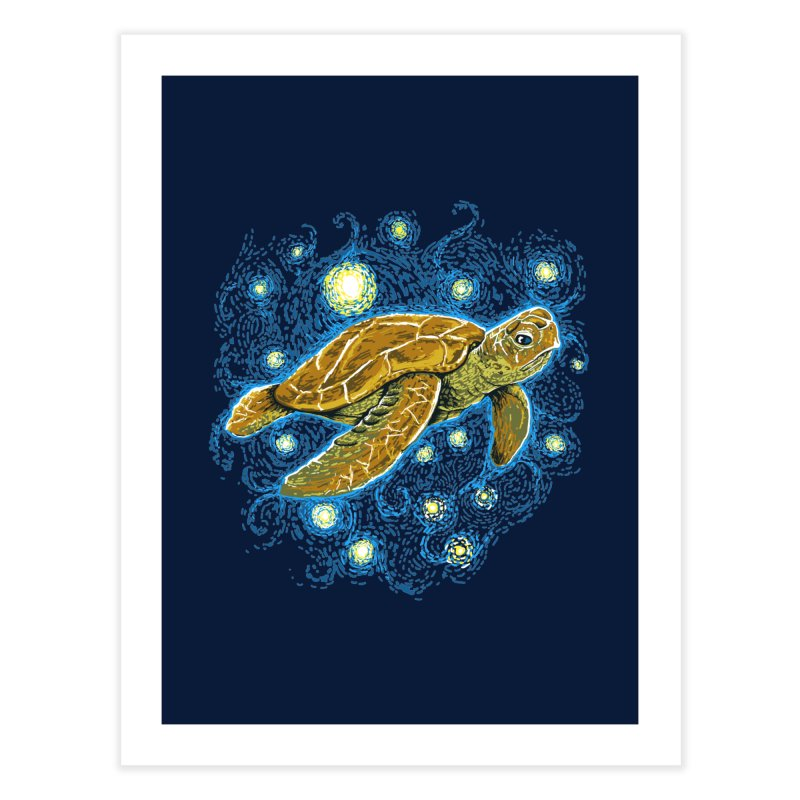 Starry Night Turtle Home Fine Art Print by Fathi