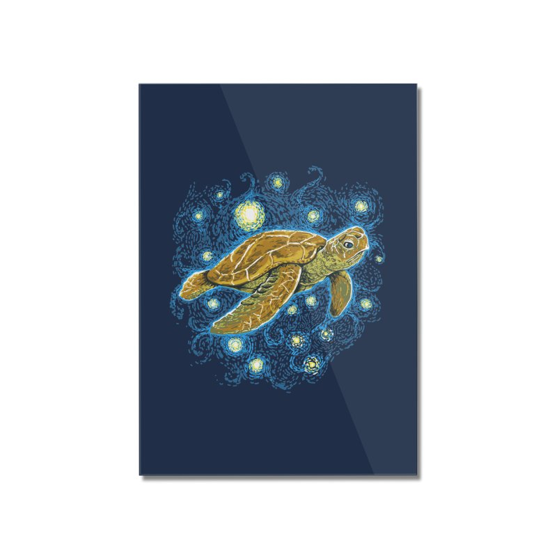 Starry Night Turtle Home Mounted Acrylic Print by Fathi