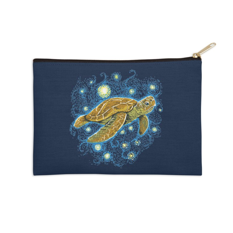 Starry Night Turtle Accessories Zip Pouch by Fathi