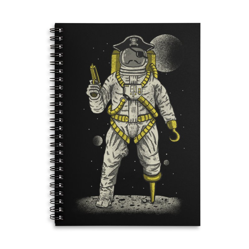 Astronaut Pirate Accessories Lined Spiral Notebook by Fathi