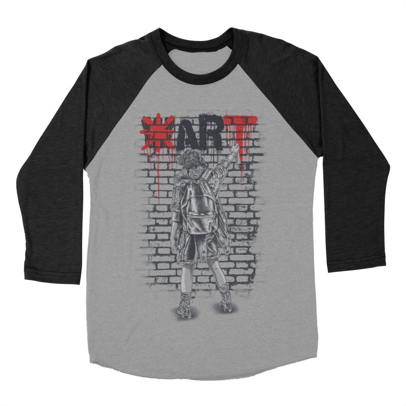 Make Art Not War Women's Baseball Triblend Longsleeve T-Shirt by Fathi