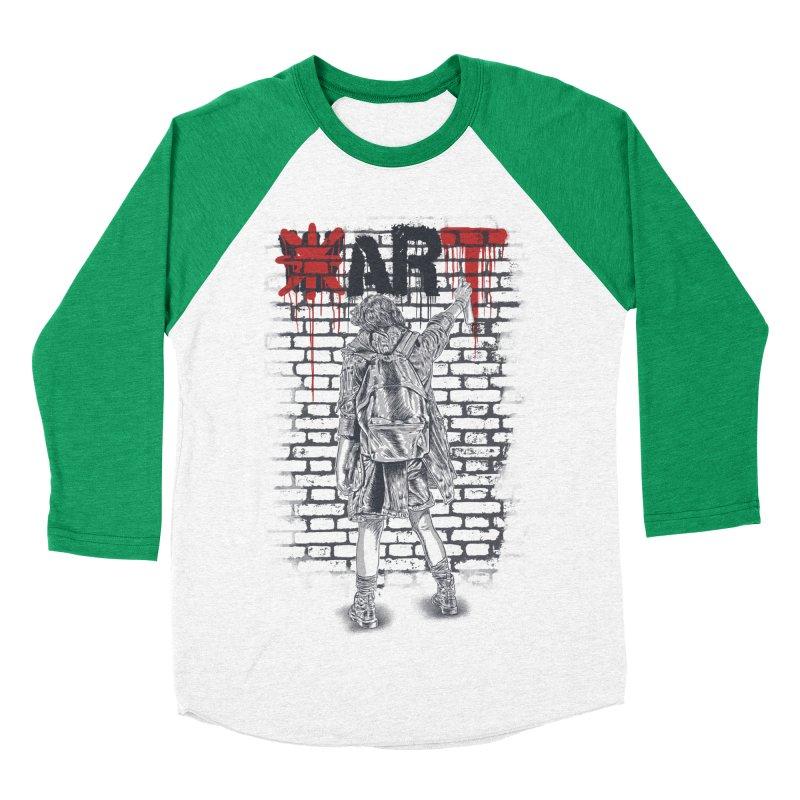 Make Art Not War Men's Baseball Triblend T-Shirt by Fathi