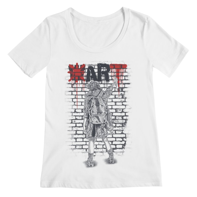 Make Art Not War Women's Regular Scoop Neck by Fathi