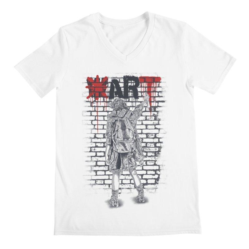 Make Art Not War Men's Regular V-Neck by Fathi