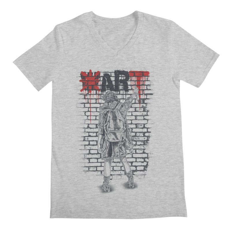 Make Art Not War Men's Regular V-Neck by Fathi