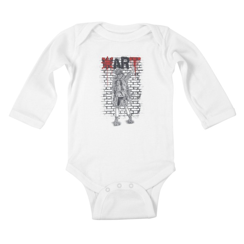 Make Art Not War Kids Baby Longsleeve Bodysuit by Fathi