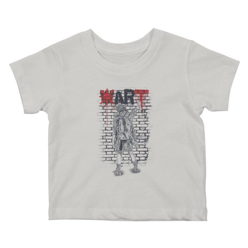 Make Art Not War Kids Baby T-Shirt by Fathi