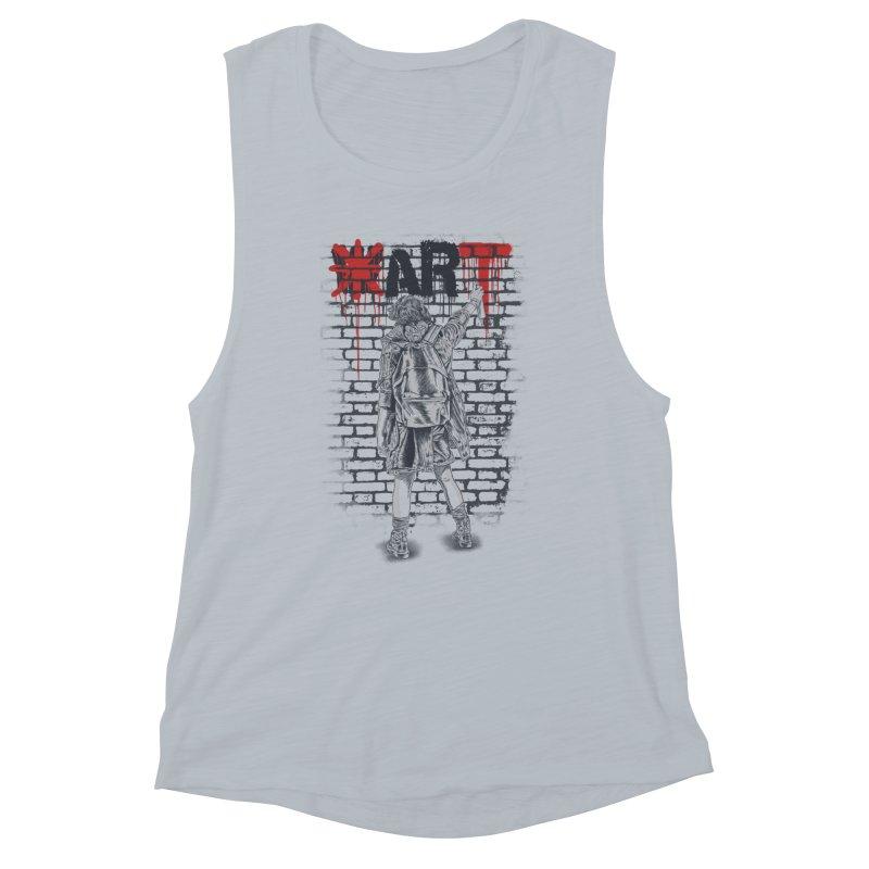 Make Art Not War Women's Muscle Tank by Fathi