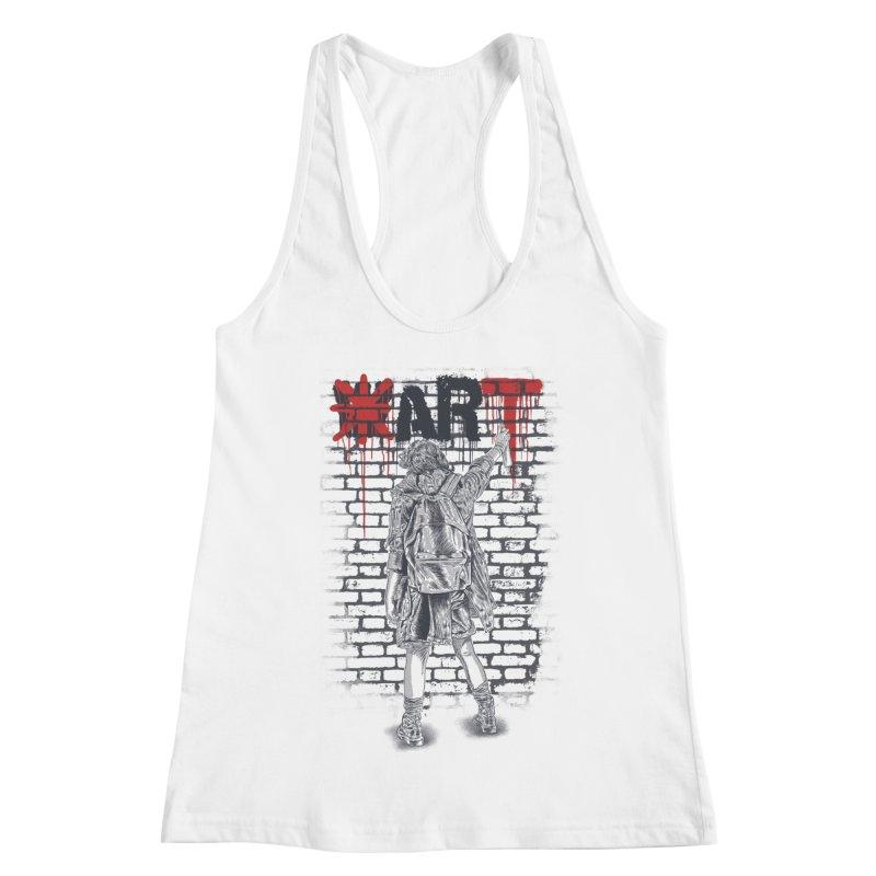 Make Art Not War Women's Racerback Tank by Fathi