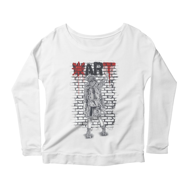 Make Art Not War Women's Scoop Neck Longsleeve T-Shirt by Fathi