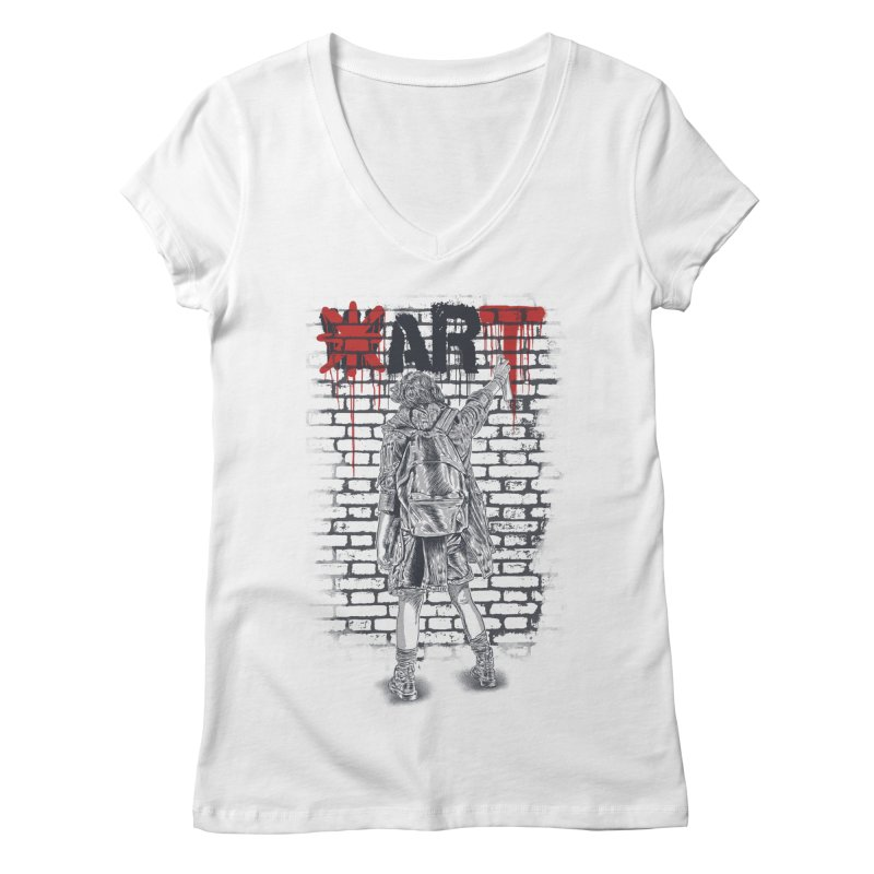 Make Art Not War Women's Regular V-Neck by Fathi