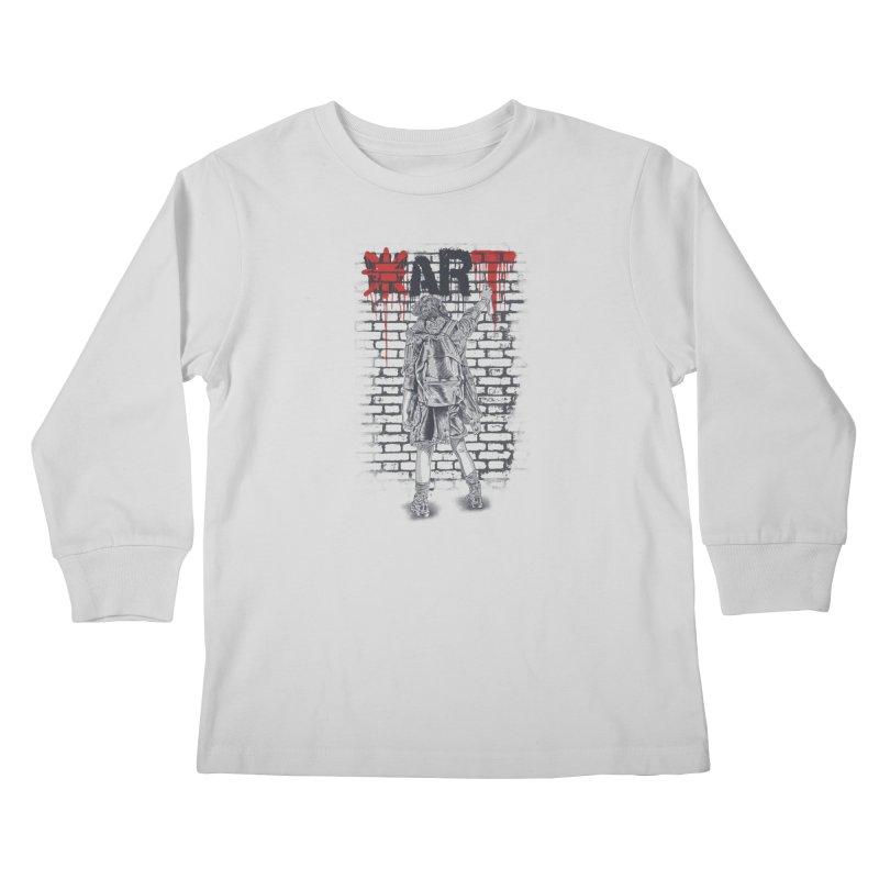 Make Art Not War Kids Longsleeve T-Shirt by Fathi