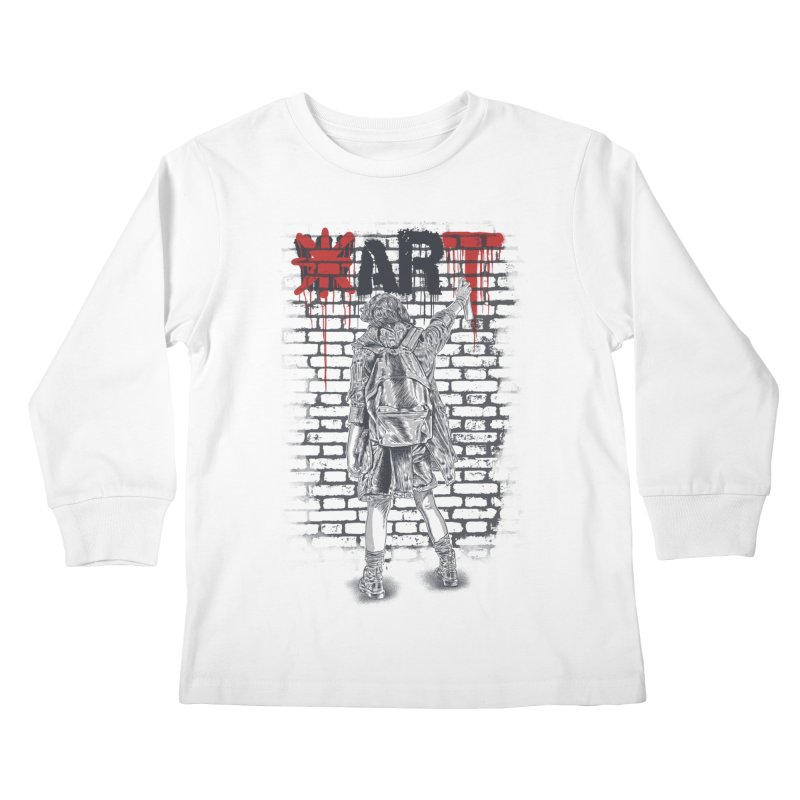 Make Art Not War Kids Longsleeve T-Shirt by Fathi