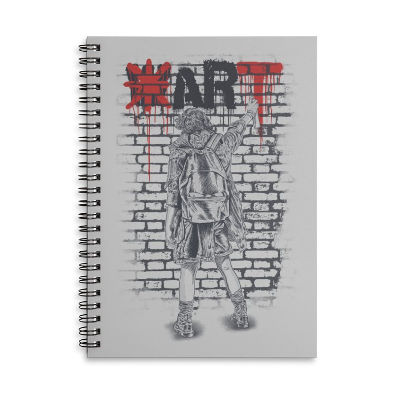 Make Art Not War Accessories Lined Spiral Notebook by Fathi