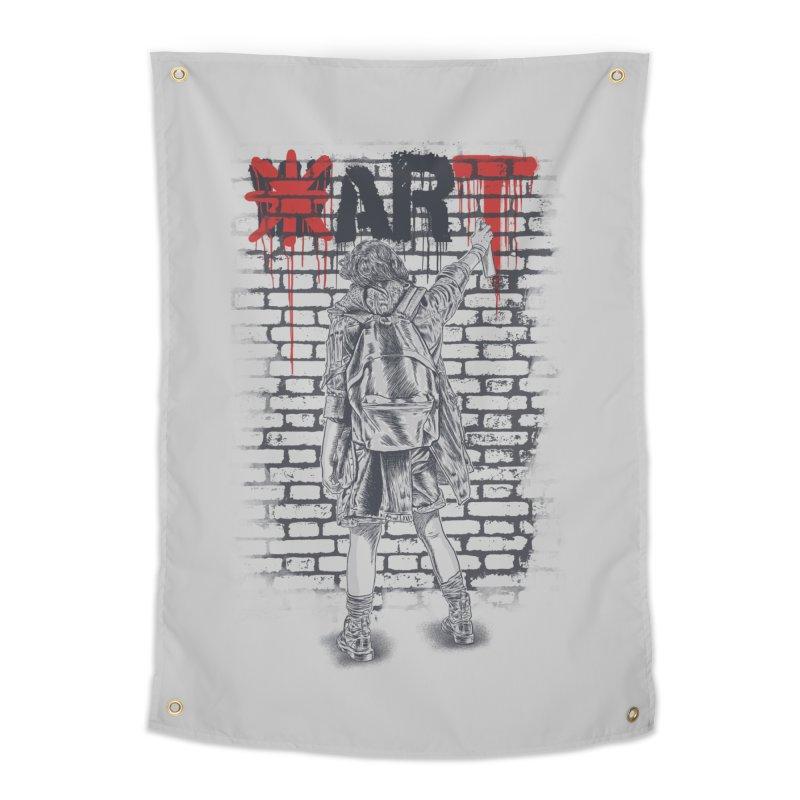 Make Art Not War Home Tapestry by Fathi