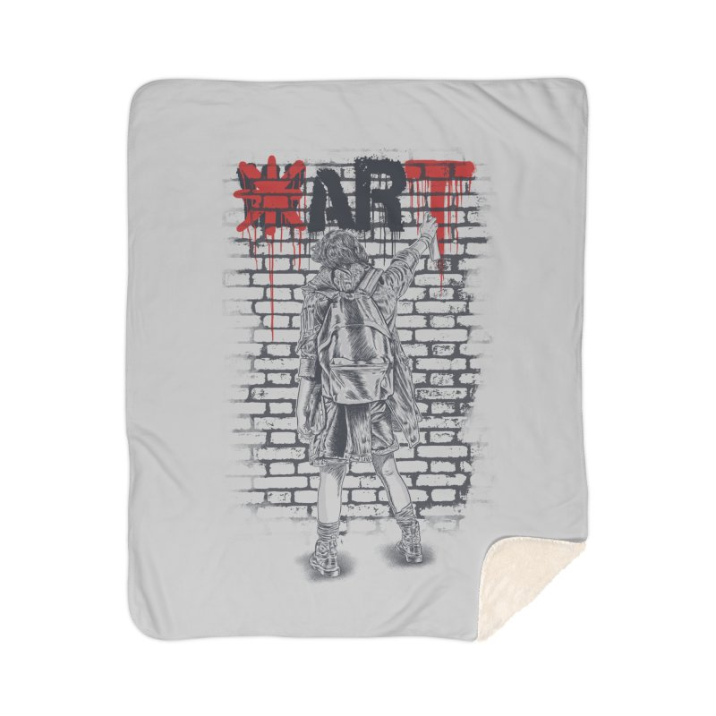 Make Art Not War Home Sherpa Blanket Blanket by Fathi