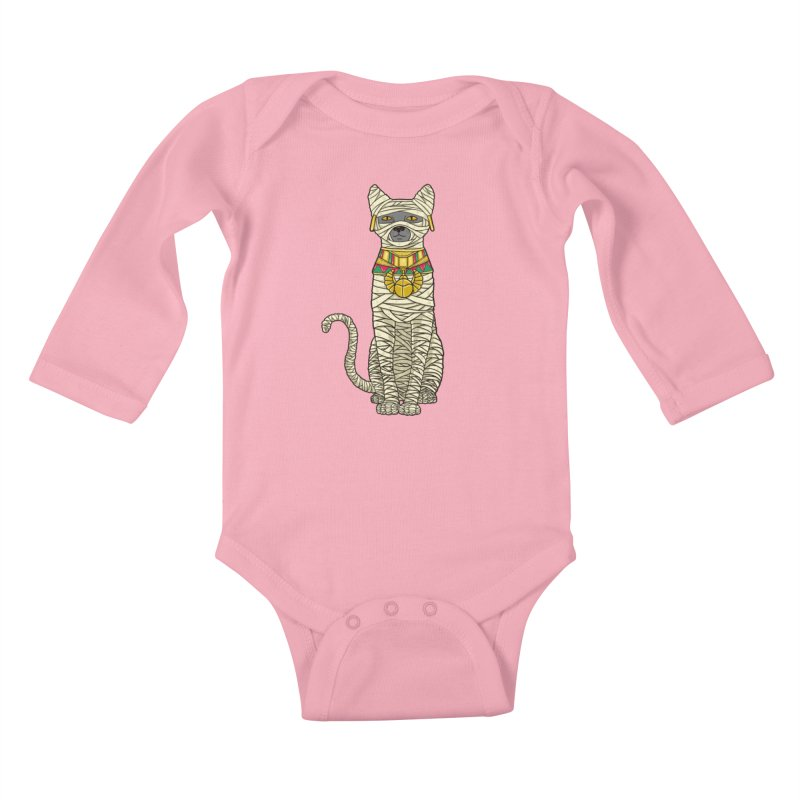 Ancient Cat Return Kids Baby Longsleeve Bodysuit by Fathi