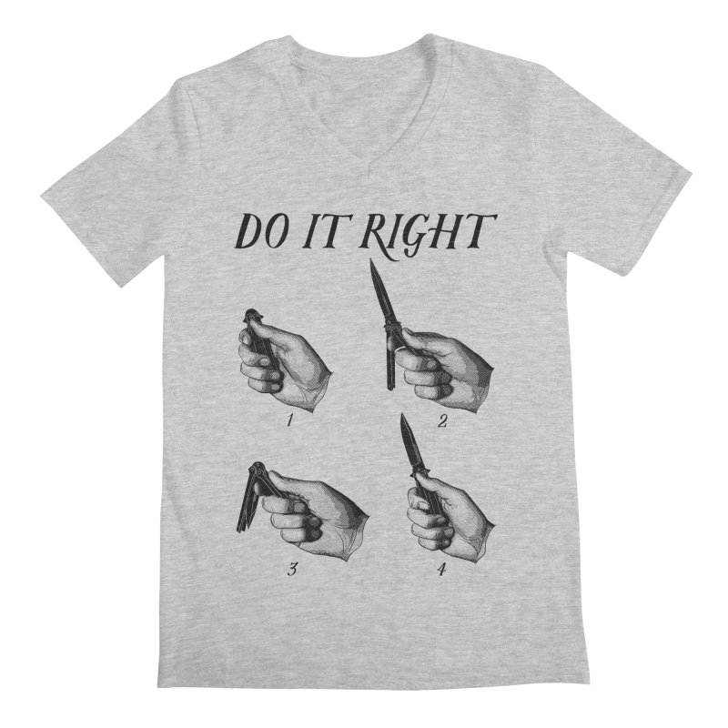 Do It Right in Men's Regular V-Neck Heather Grey by Fat.Max