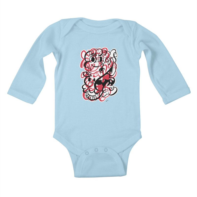 Doodle of the day II – red version Kids Baby Longsleeve Bodysuit by Favati