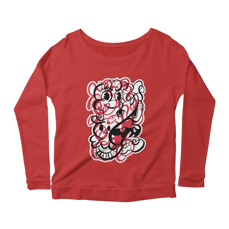 Doodle of the day II – red version Women's Scoop Neck Longsleeve T-Shirt by Favati