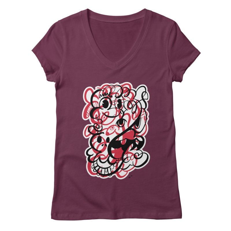 Doodle of the day II – red version Women's Regular V-Neck by Favati
