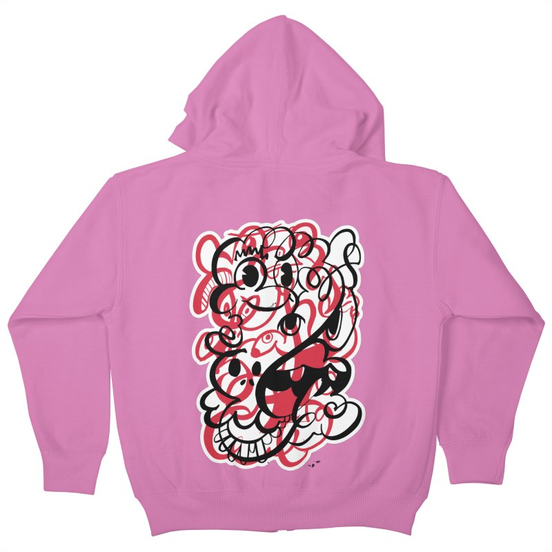 Doodle of the day II – red version Kids Zip-Up Hoody by Favati